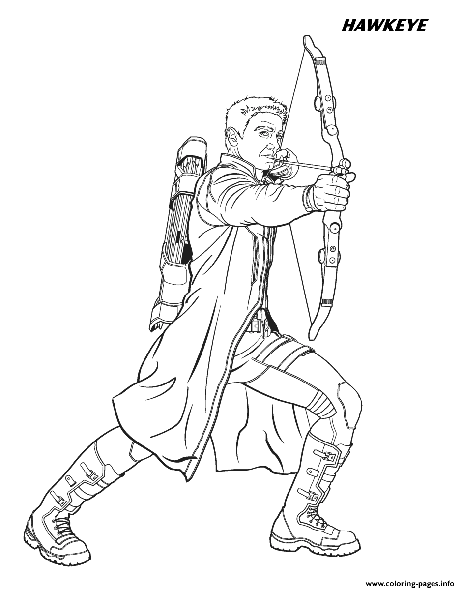 Hawkeye From The Avengers Coloring Pages Printable