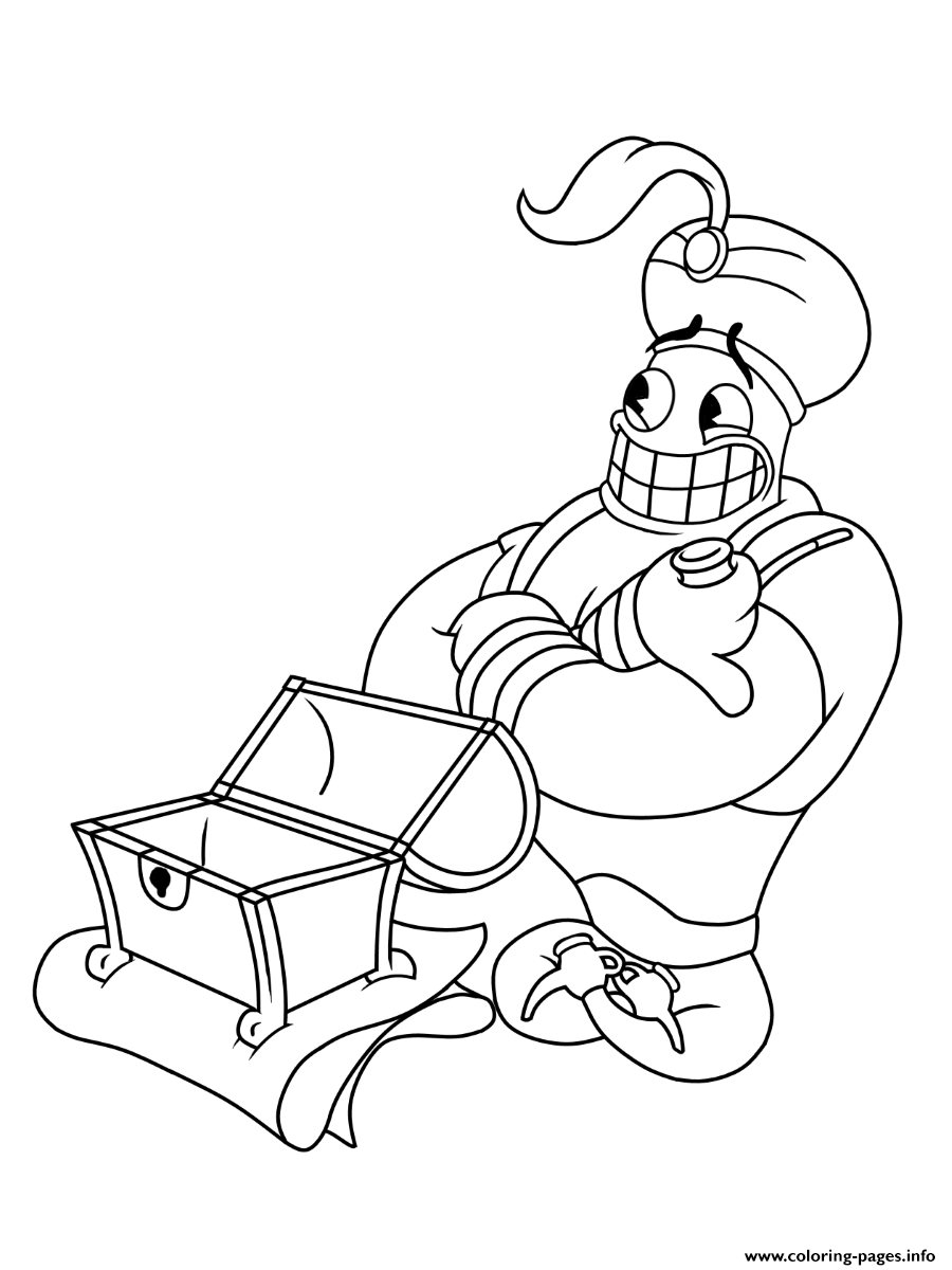 Cuphead Aladin Magician Coloring Pages Printable
