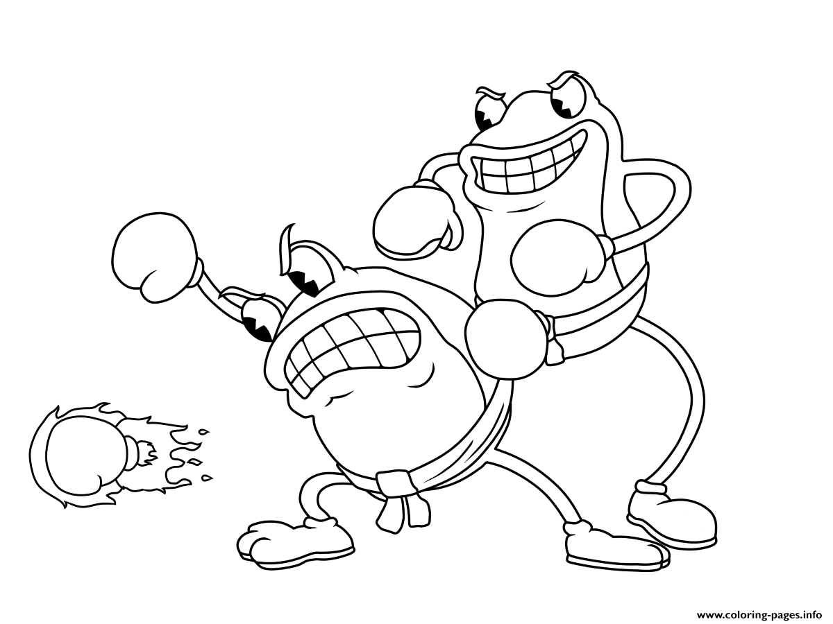 Cuphead Frogs Fight coloring pages