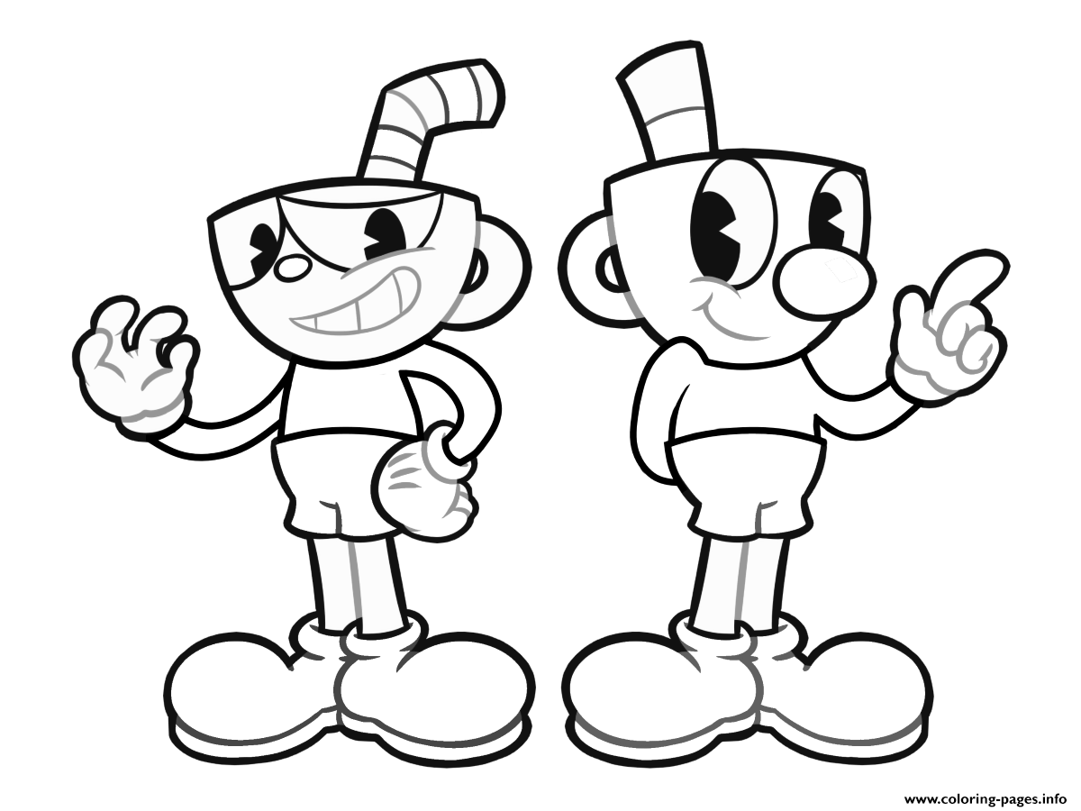 Cuphead Indie Video Game Coloring