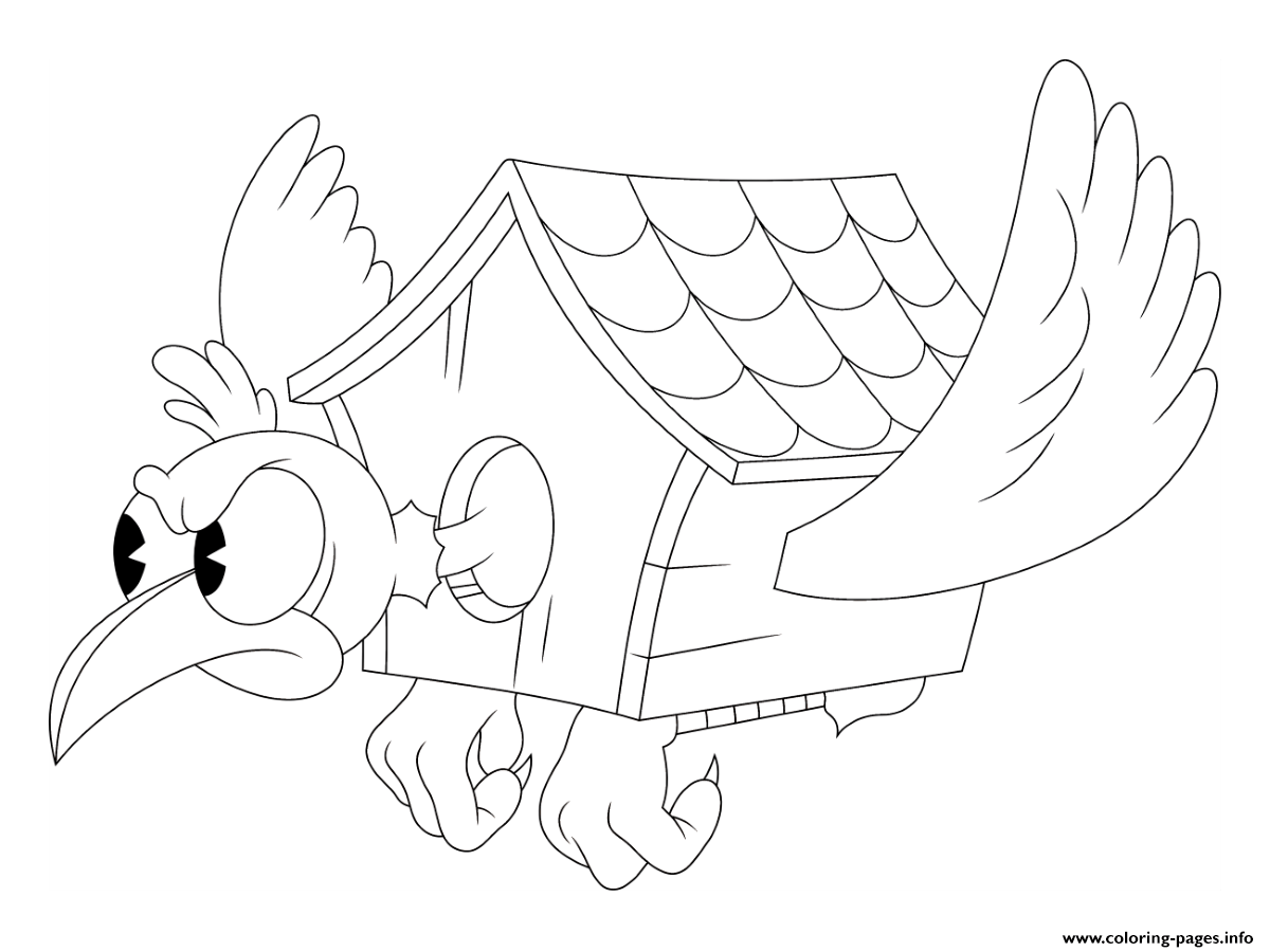 Cuphead Bird House Coloring Pages Printable