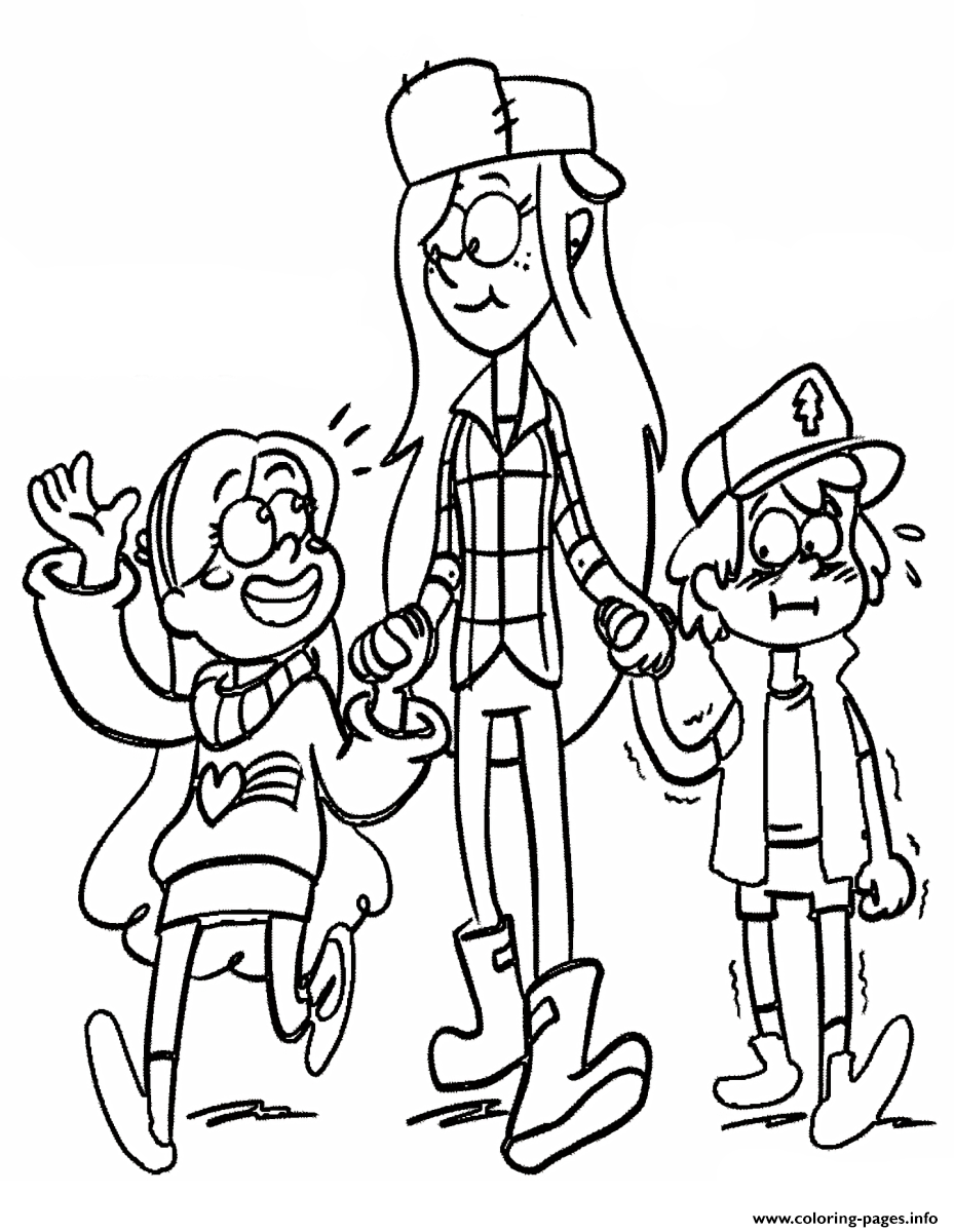Gravity Falls Dipper Mabel Walk coloring pages