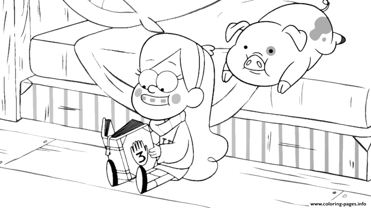 - Gravity_falls_mabel Reading A Book With His Pig Coloring Pages