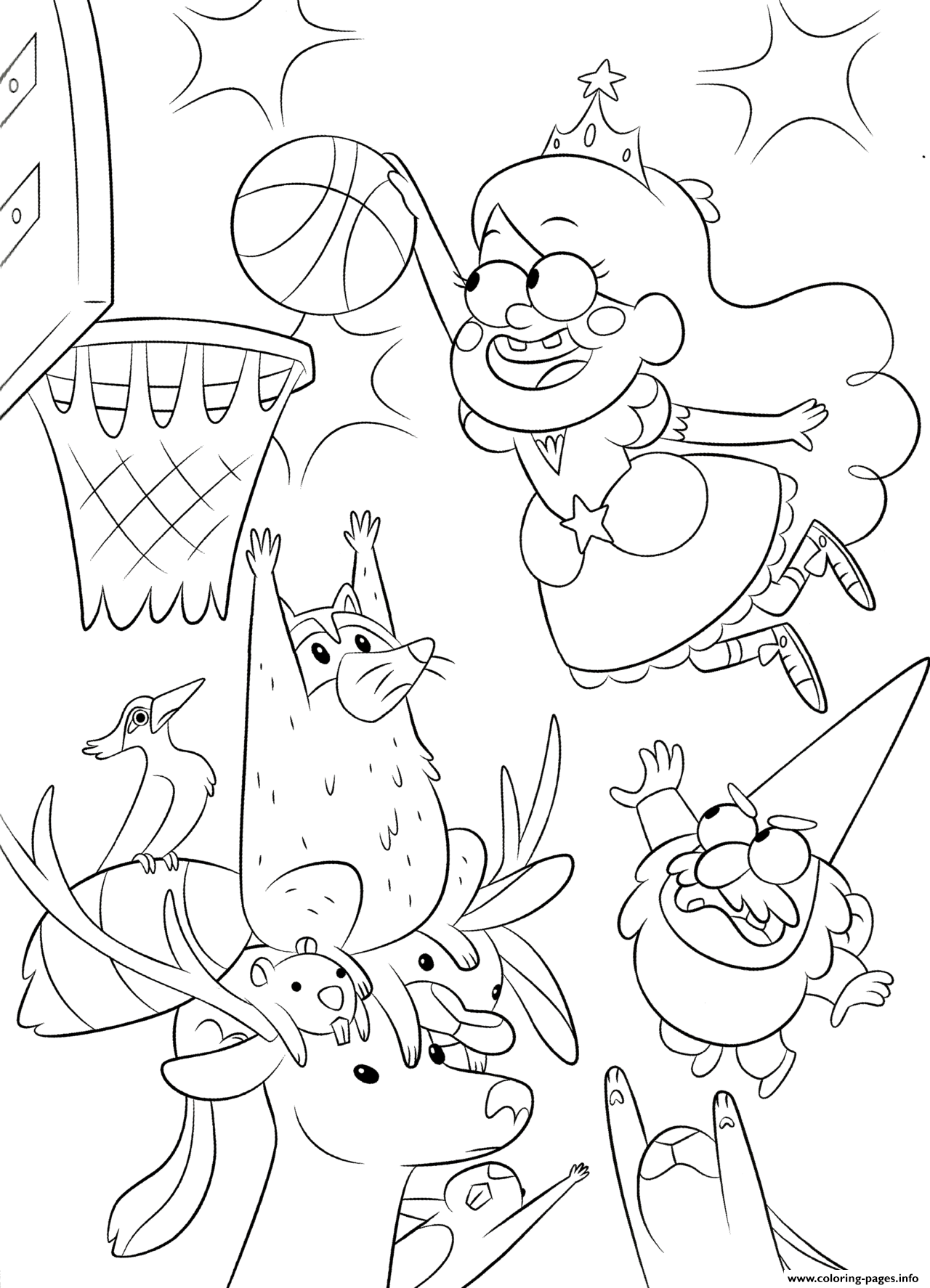 Gravity Falls Playing Basketball coloring pages