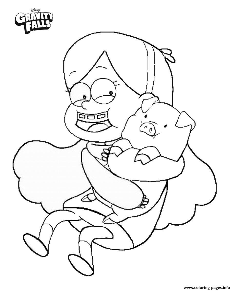 Gravity Falls Mabel And Waddles Coloring Pages Printable