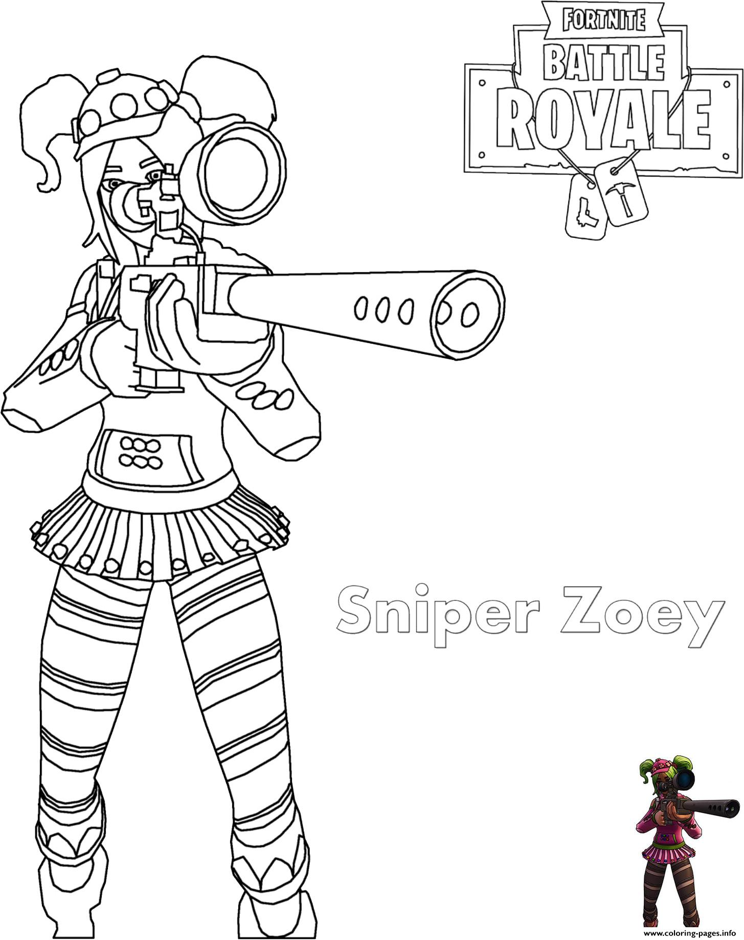 Zoey Sniper Rifle Fortnite Coloring Pages Printable