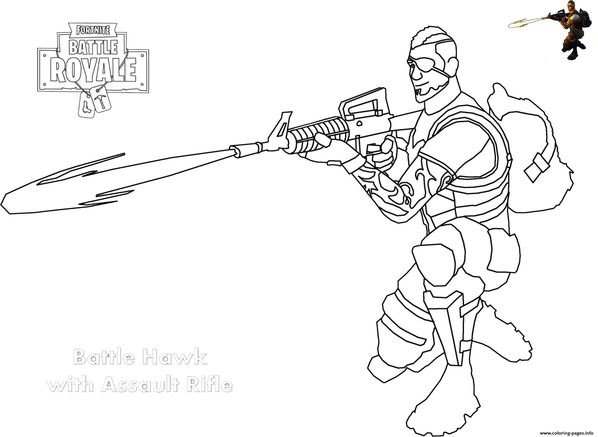 Game Para Colorear: Assault Rifle Shot Fortnite Coloring Pages Printable
