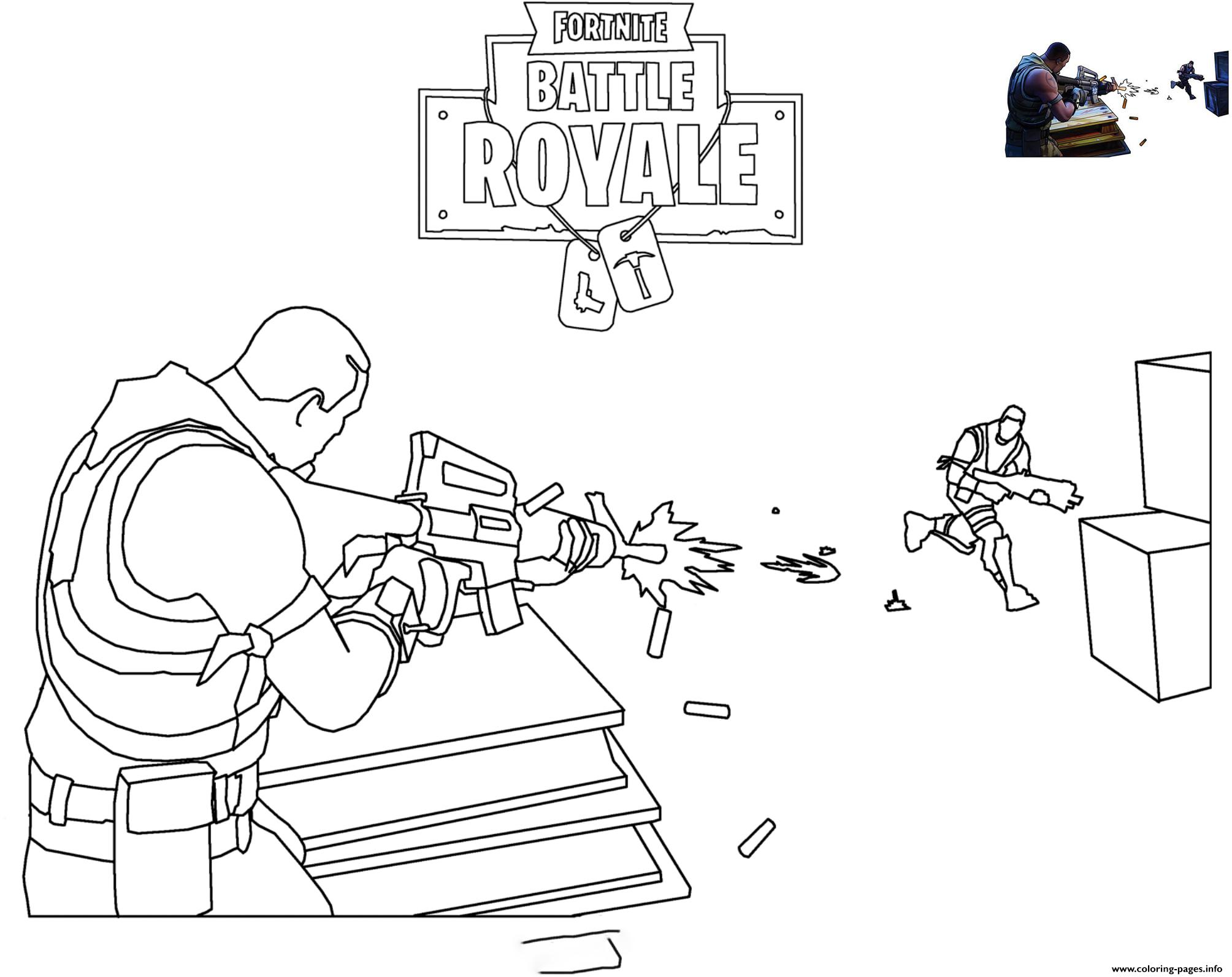 Fortnite Scene Shooting Coloring Pages Printable