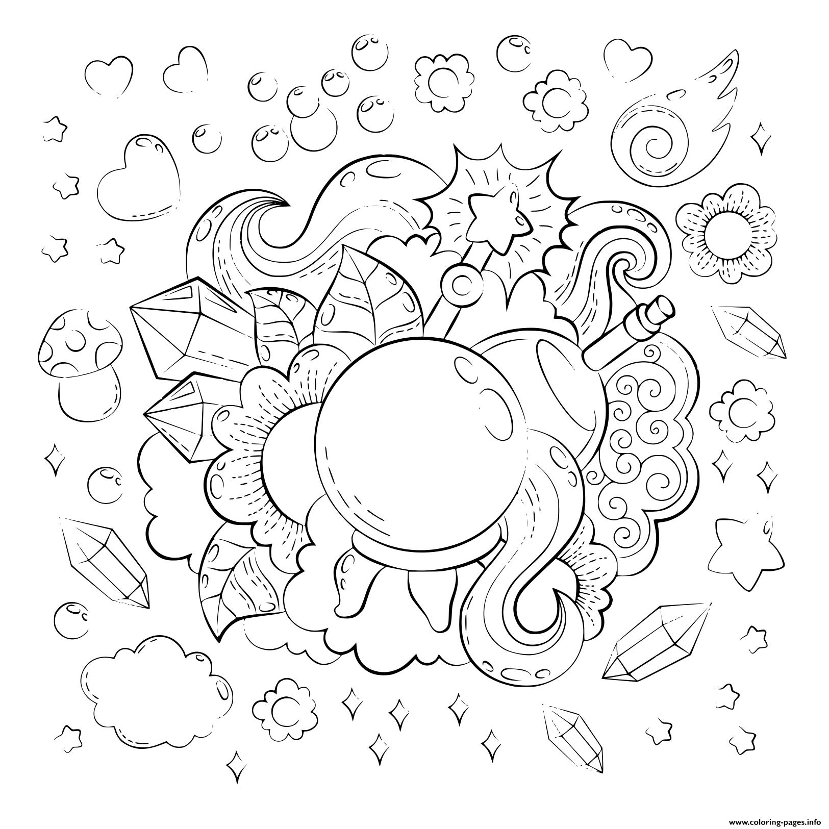Cartoon Doodle Illustration Magic Pattern For Adult ...