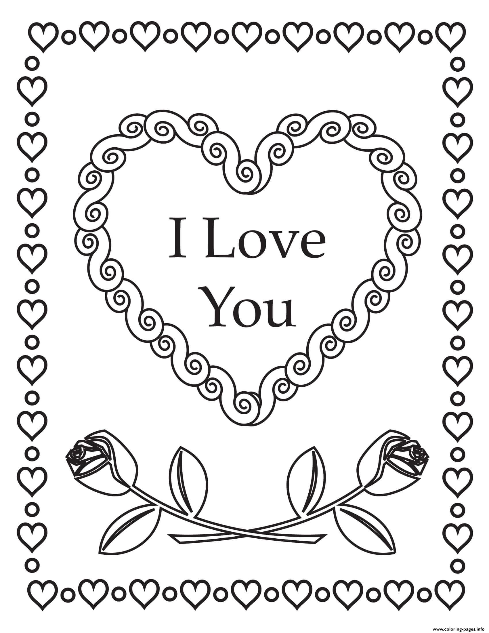 I Love You Hearts Roses Mandala Coloring Pages Printable