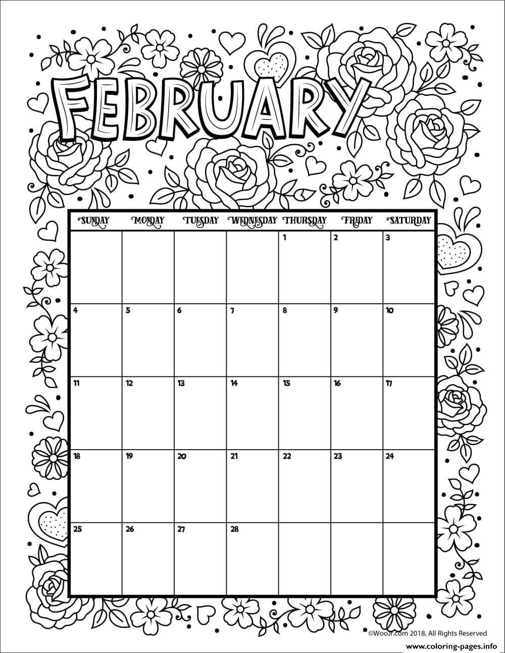 February Coloring Calendar Coloring Pages Printable