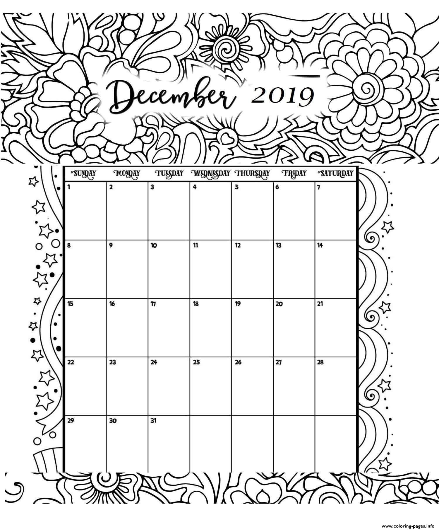 December Calendar 2019 Coloring Pages Printable