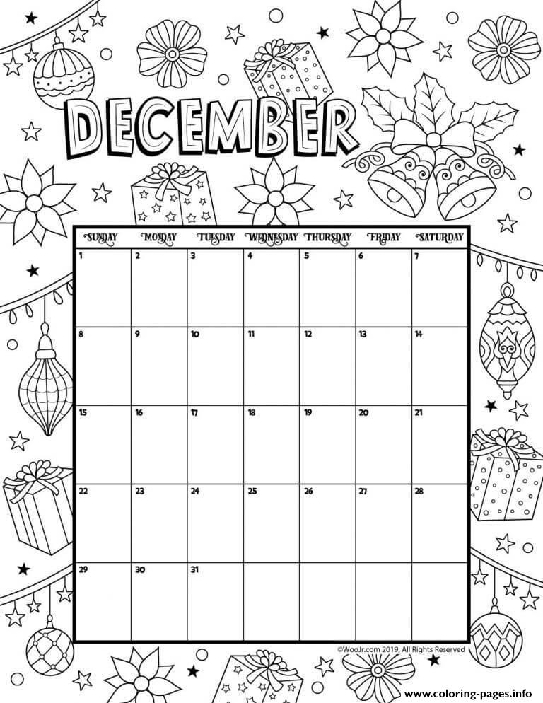 december calendar 2019 christmas coloring pages printable