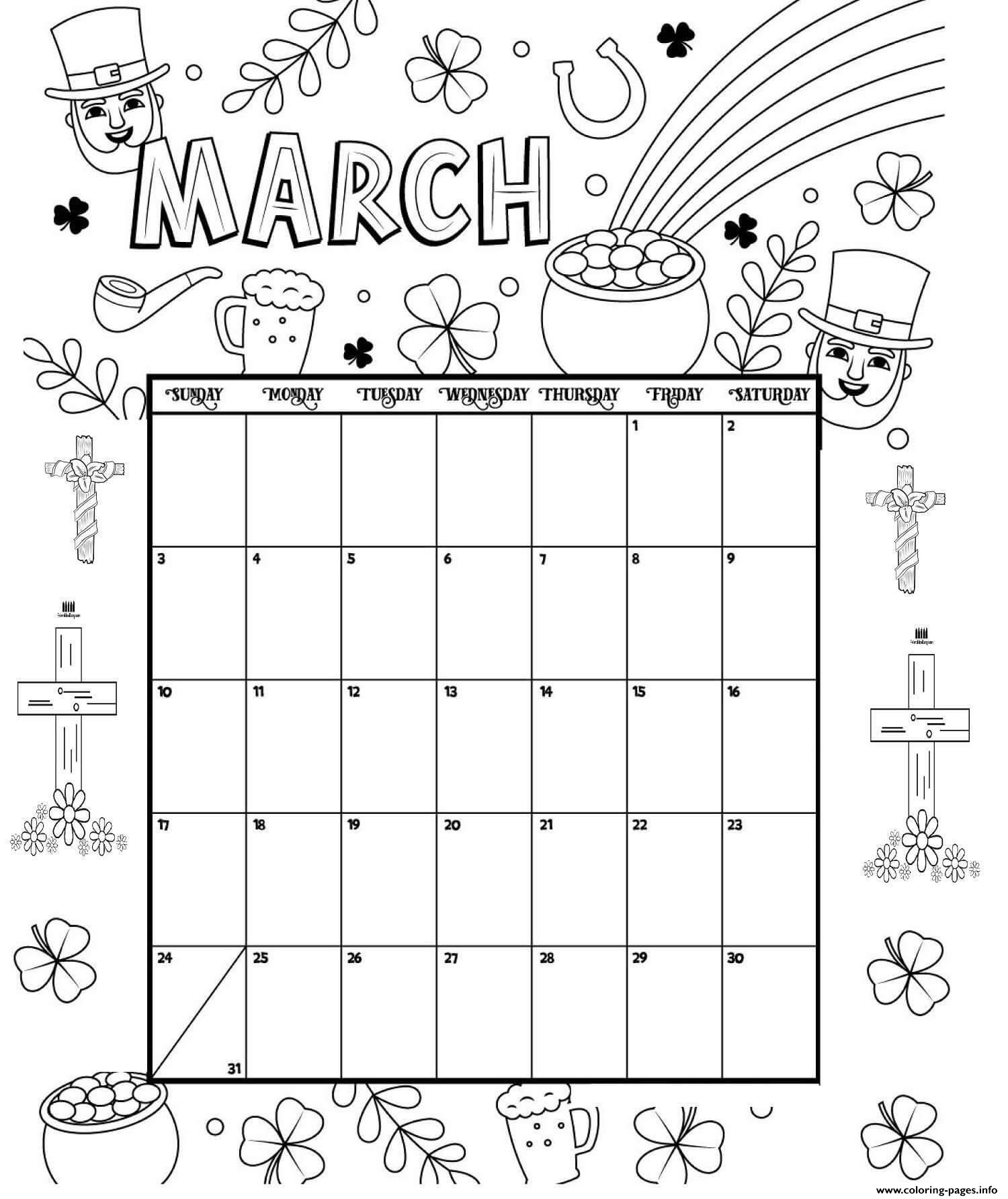 March Coloring Calendar 2019 Coloring Pages Printable