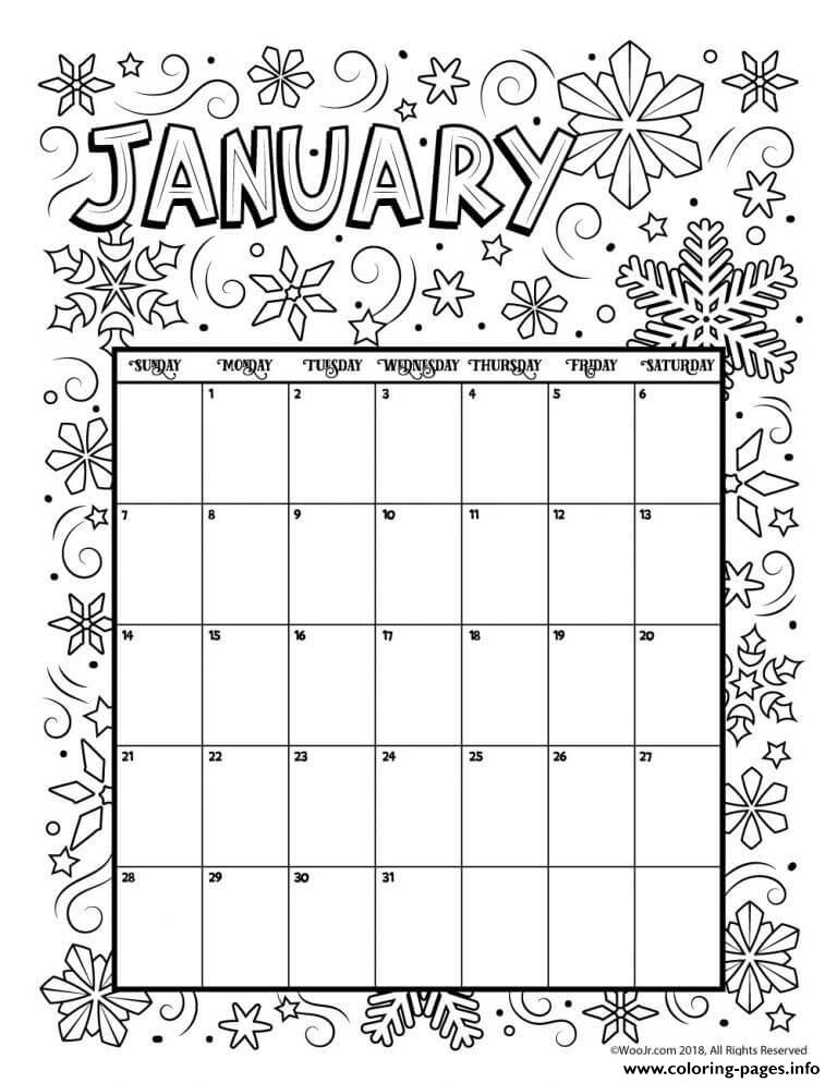 January Coloring Calendar 2019 Coloring Pages Printable