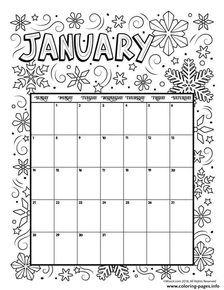 January Coloring Calendar 2019