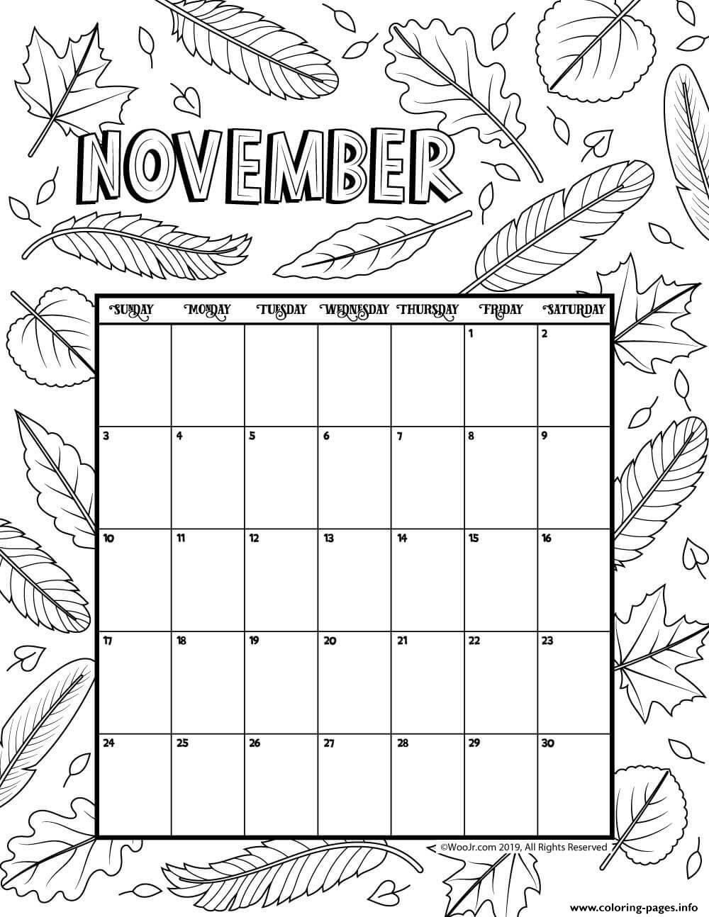 November Coloring Calendar 2019 Coloring Pages Printable