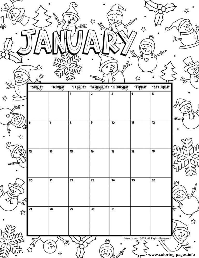 January Calendar 2019 Winter coloring pages