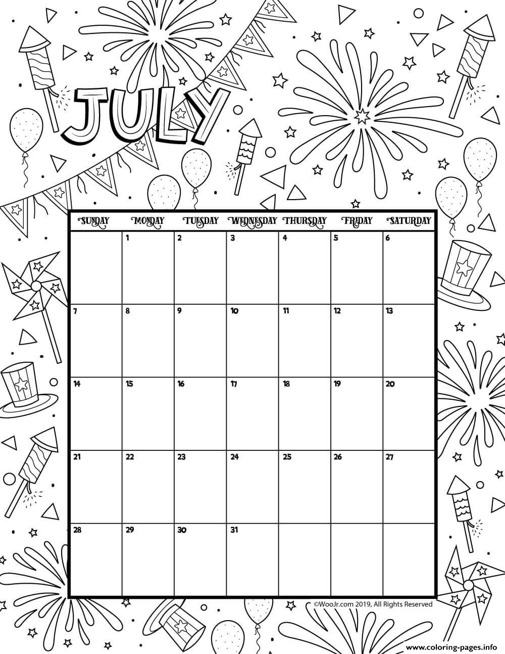 July 2019 Coloring Calendar coloring pages