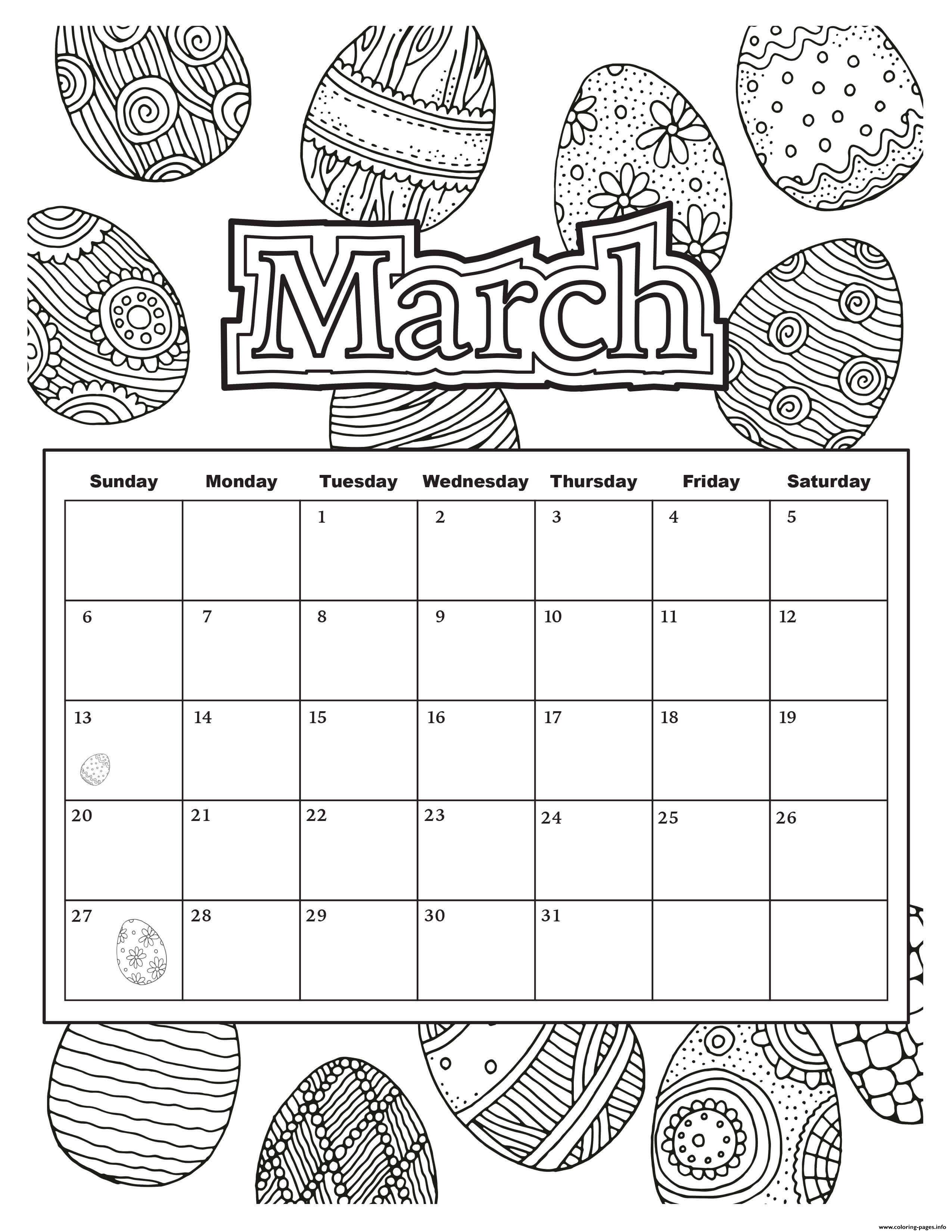 March Calendar Easter 2019 Coloring
