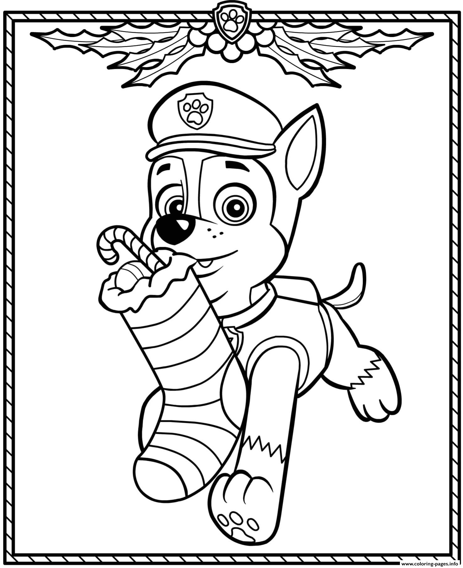 paw patrol holiday christmas chase coloring pages printable
