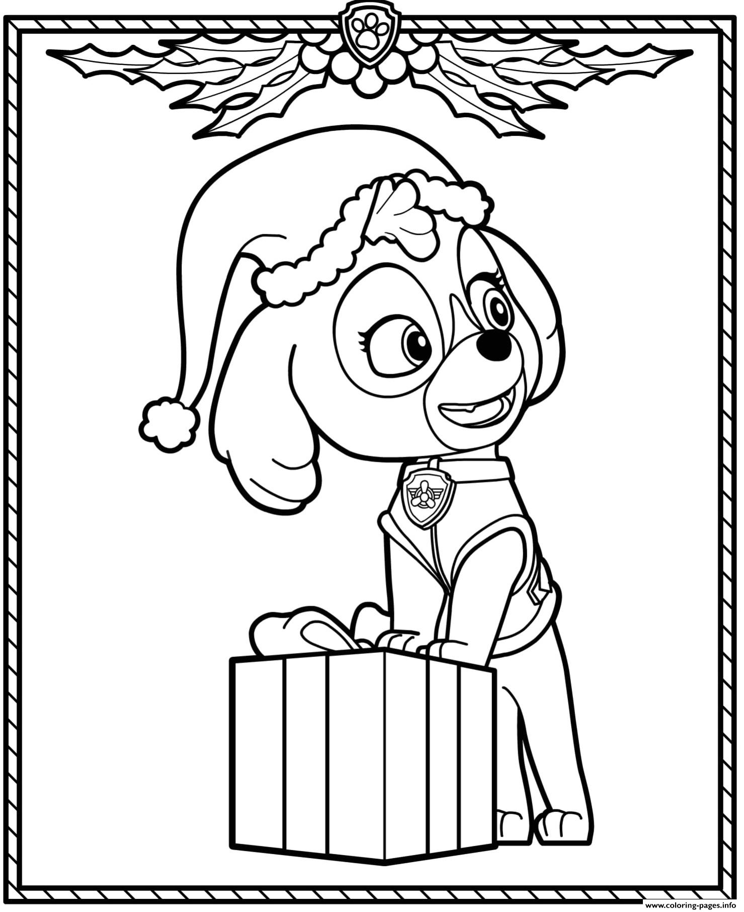 Paw Patrol Holiday Christmas Skye coloring pages