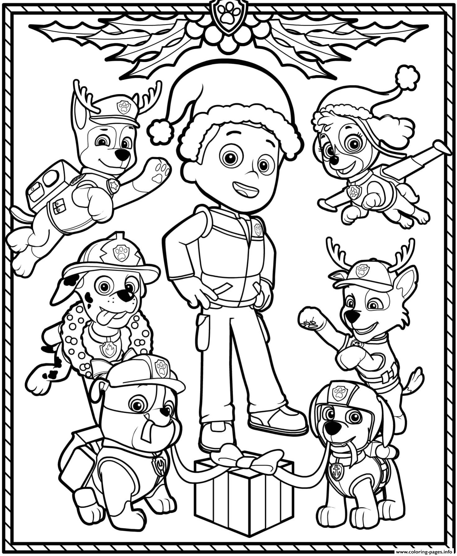 Paw Patrol Holiday Christmas Coloring Pages Printable