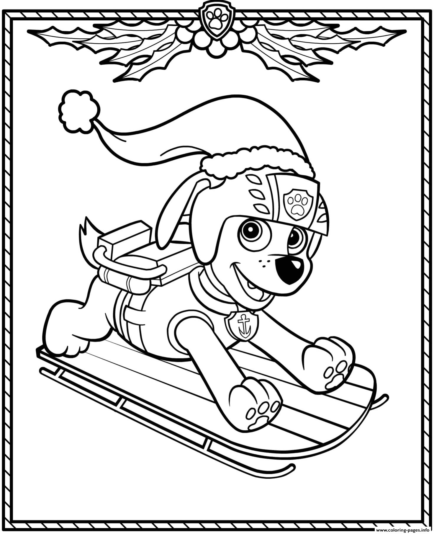Paw Patrol Holiday Christmas Zuma Coloring Pages Printable