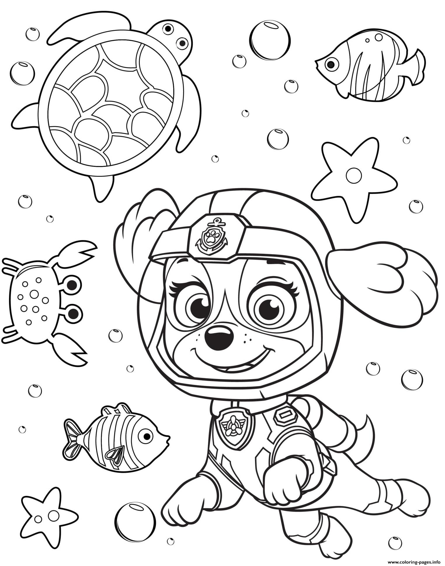 Sea Patrol Skye Paw Coloring Pages Printable