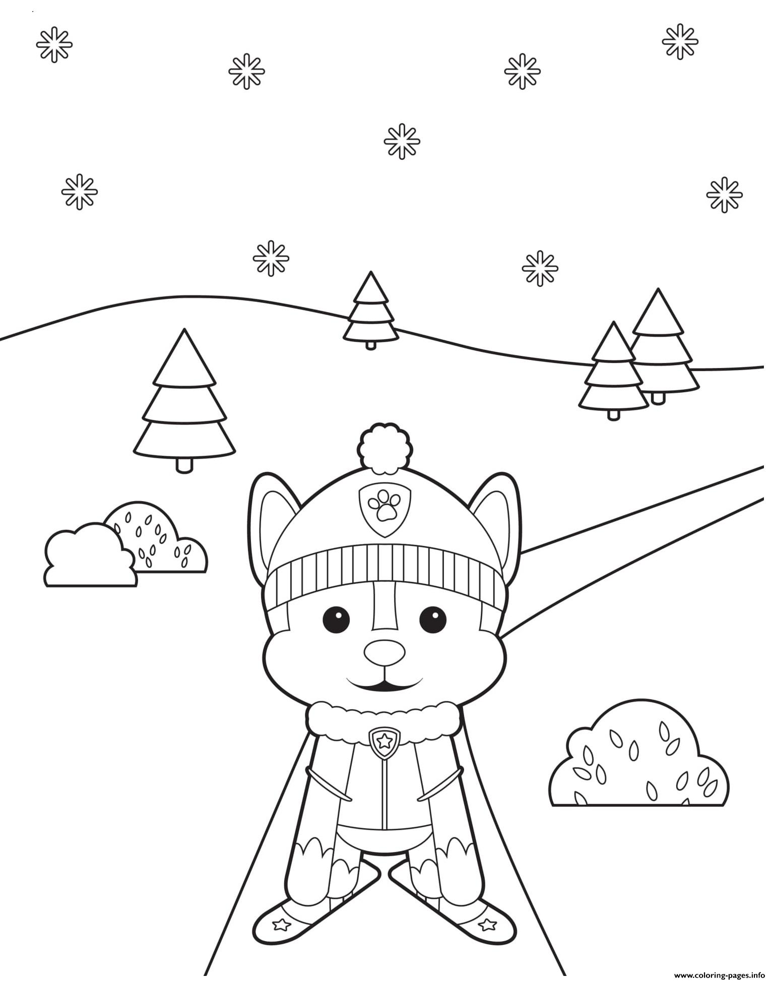 Puppy Skiing Through The Trees Paw Patrol Coloring Pages
