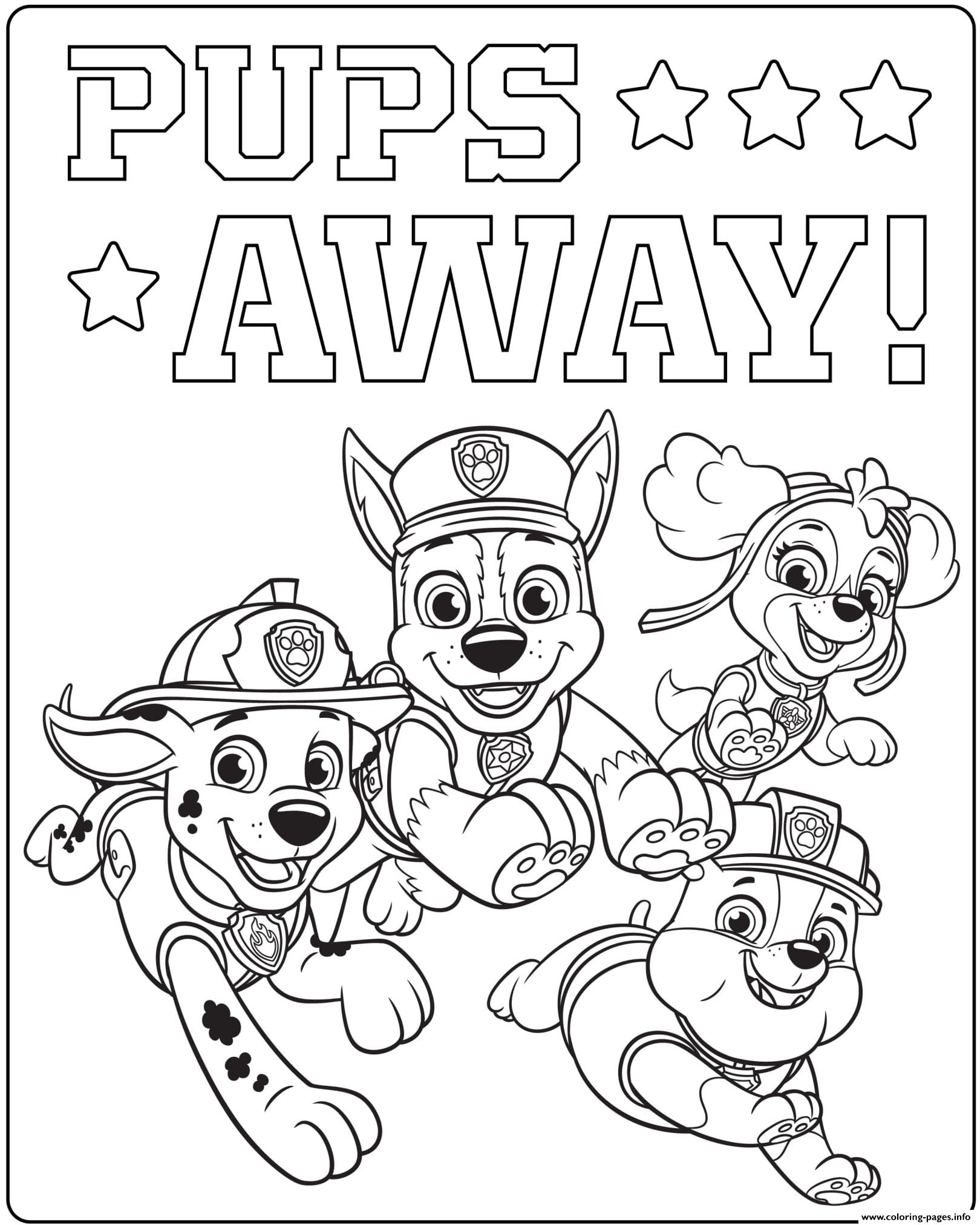 Paw Patrol Ultimate Rescue Pups Away Coloring Pages Printable