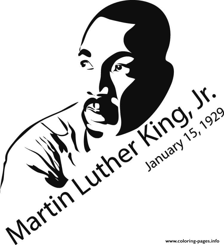 Martin Luther King 15 January 1929 coloring pages