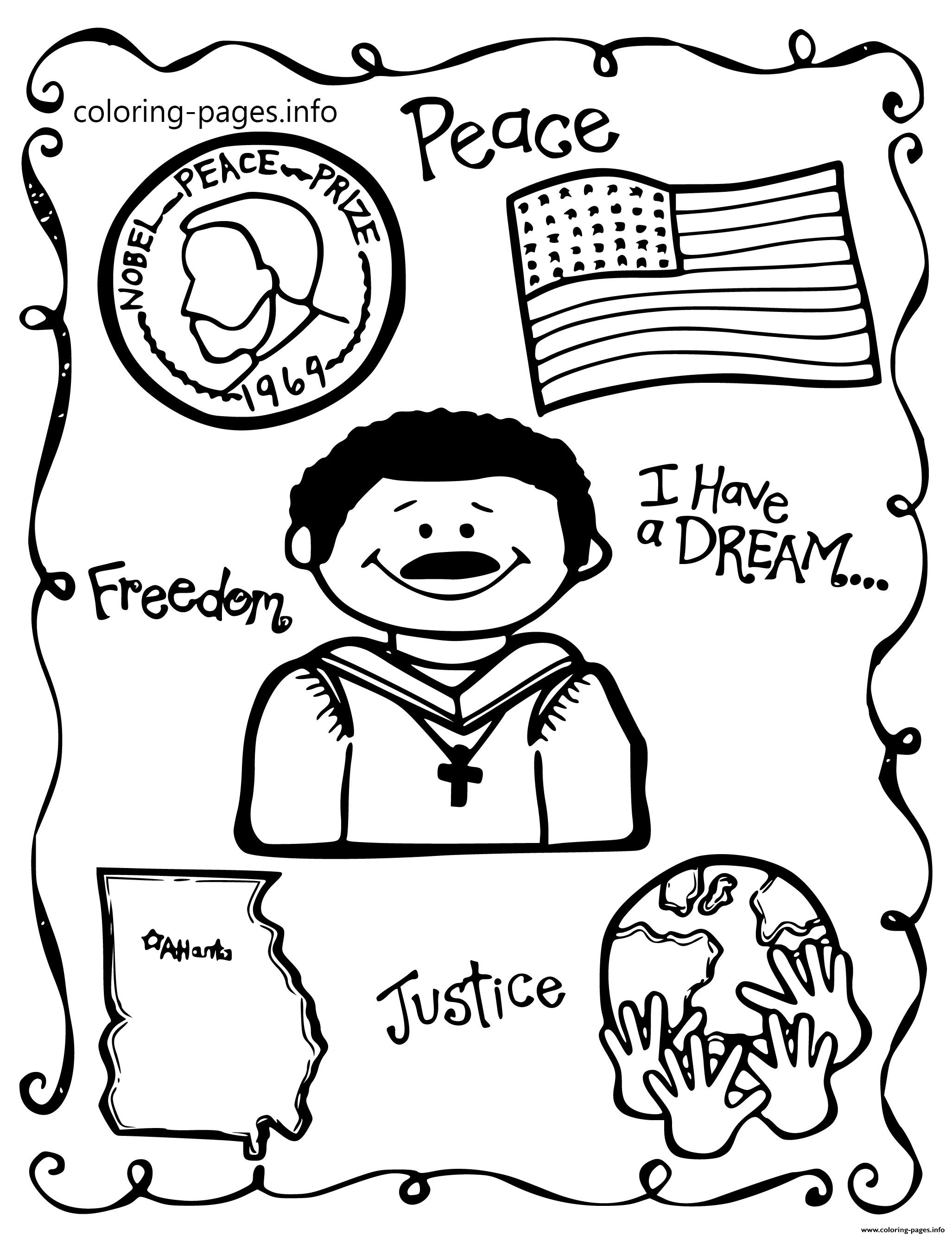 Martin Luther King Day School Themes Peace Freedom coloring pages