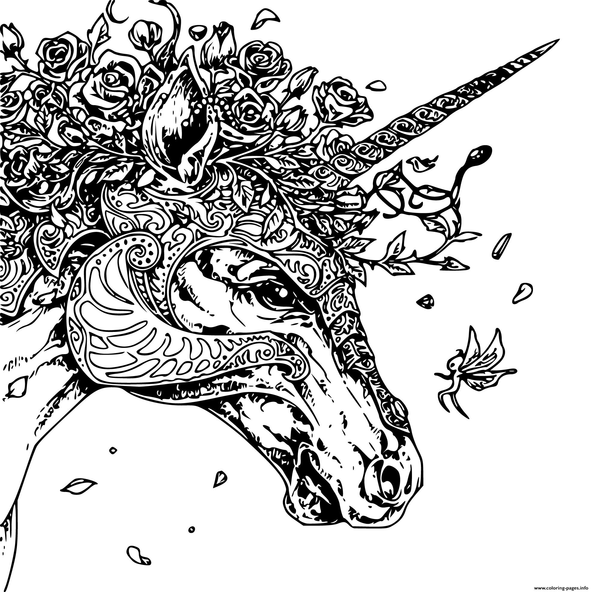 Unique Unicorn Head Adult Zentangle Coloring Pages Printable