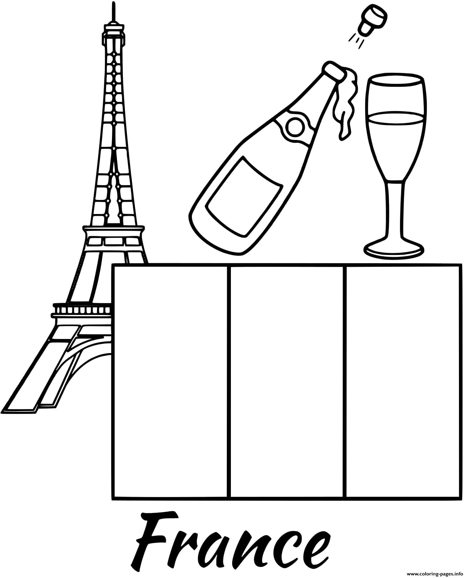 - France Flag Eiffel Tower Coloring Pages Printable