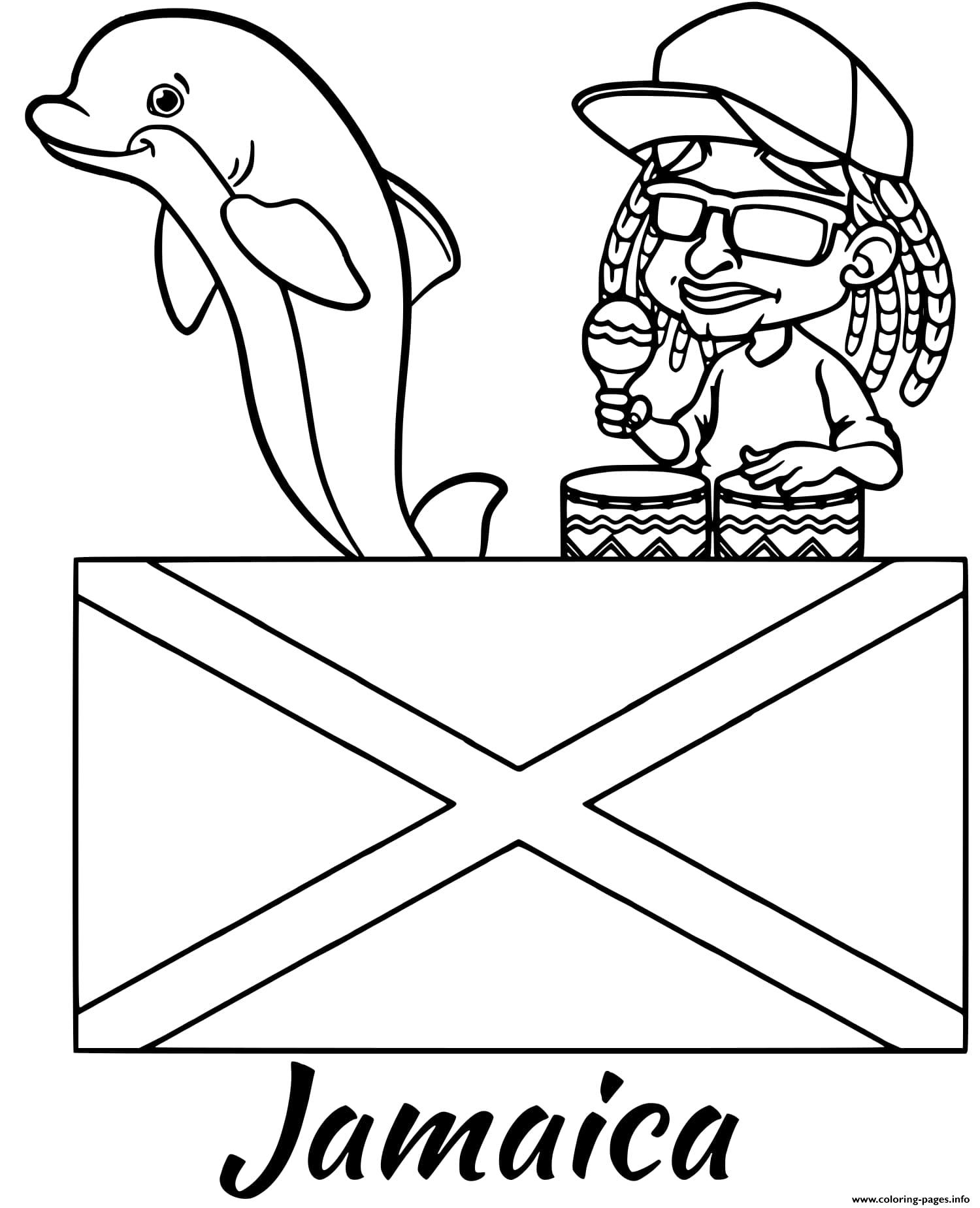 Jamaica Flag Reggae Coloring Pages