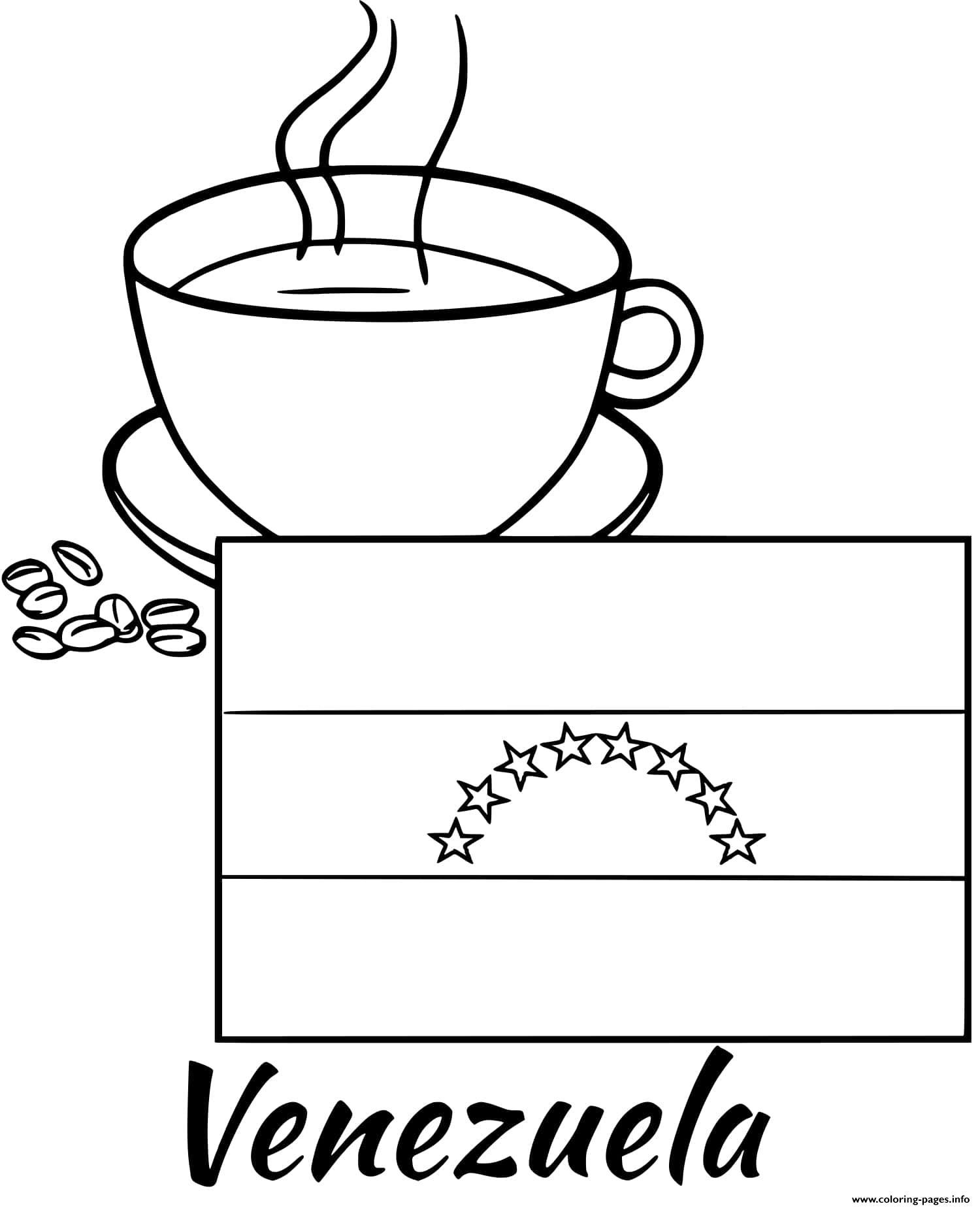 Venezuela Flag Coffee Coloring Pages Printable