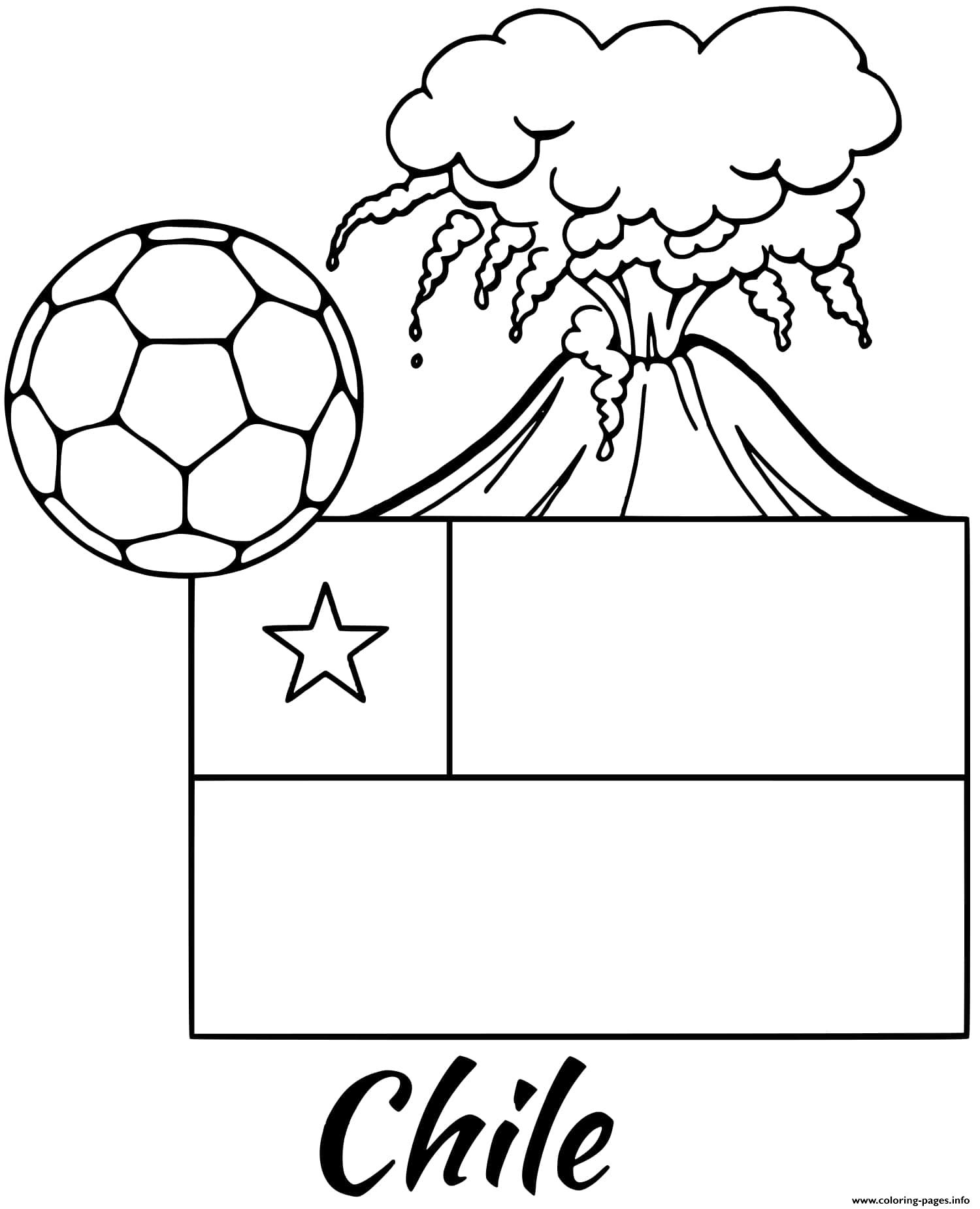 Chile Flag Volcano Coloring Pages Printable