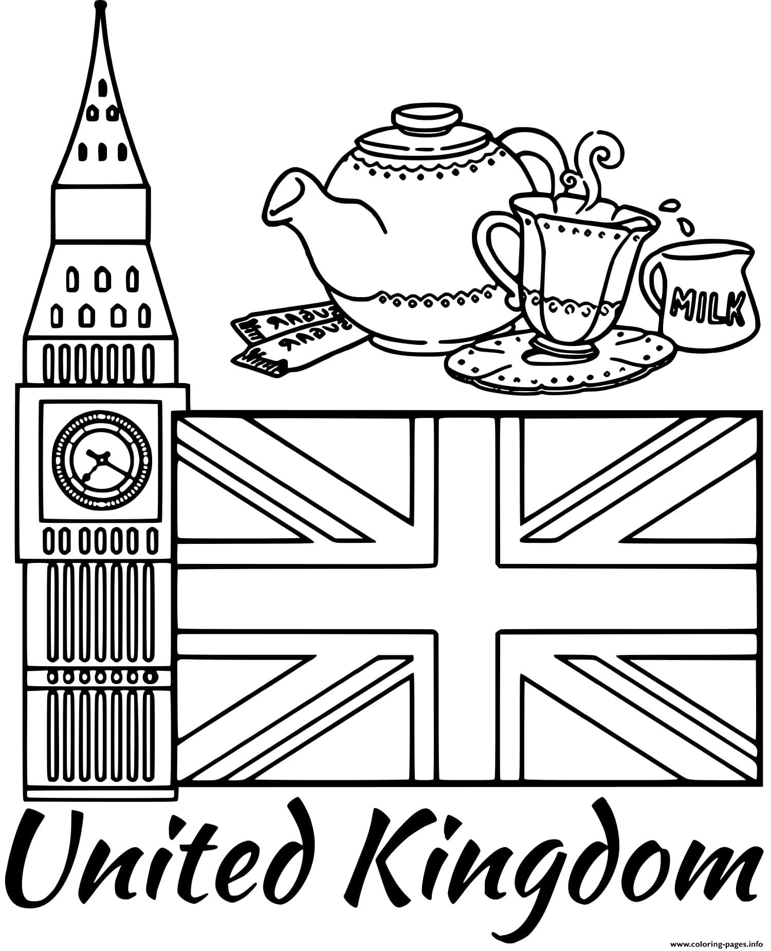 United Kingdom Flag Big Ben Coloring Pages Printable