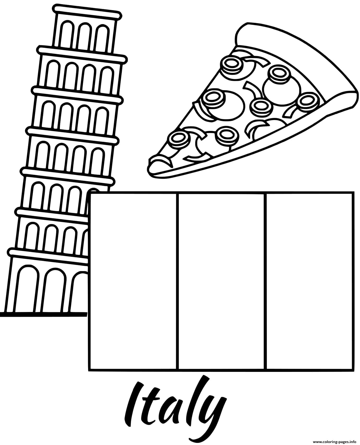 Italy Flag Piza coloring pages