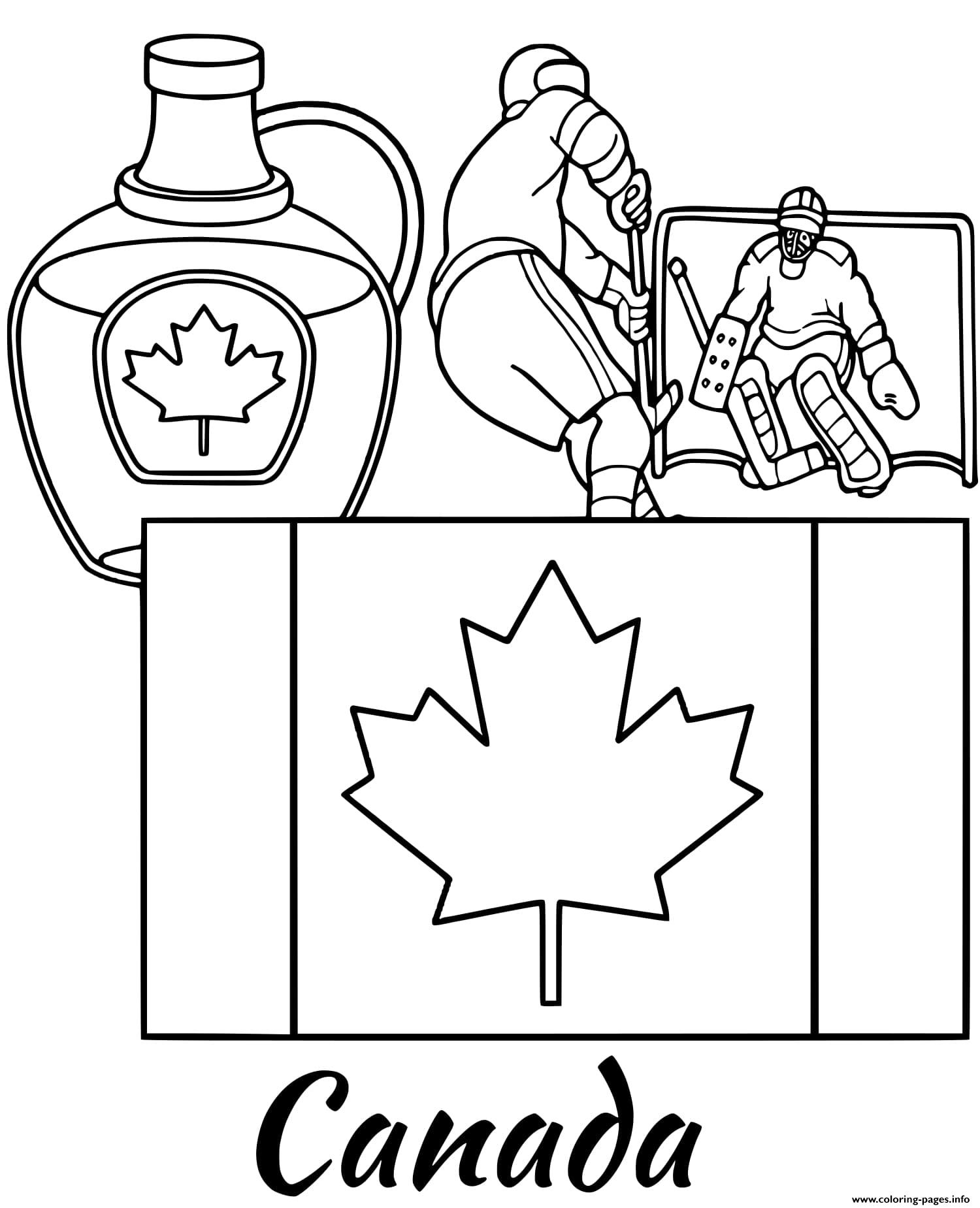 Canada Flag Maple Syrup coloring pages