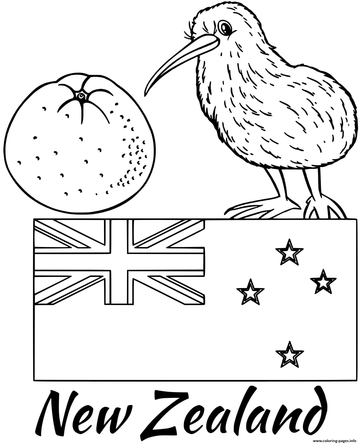 New Zealand Flag Kiwi Coloring Pages Printable