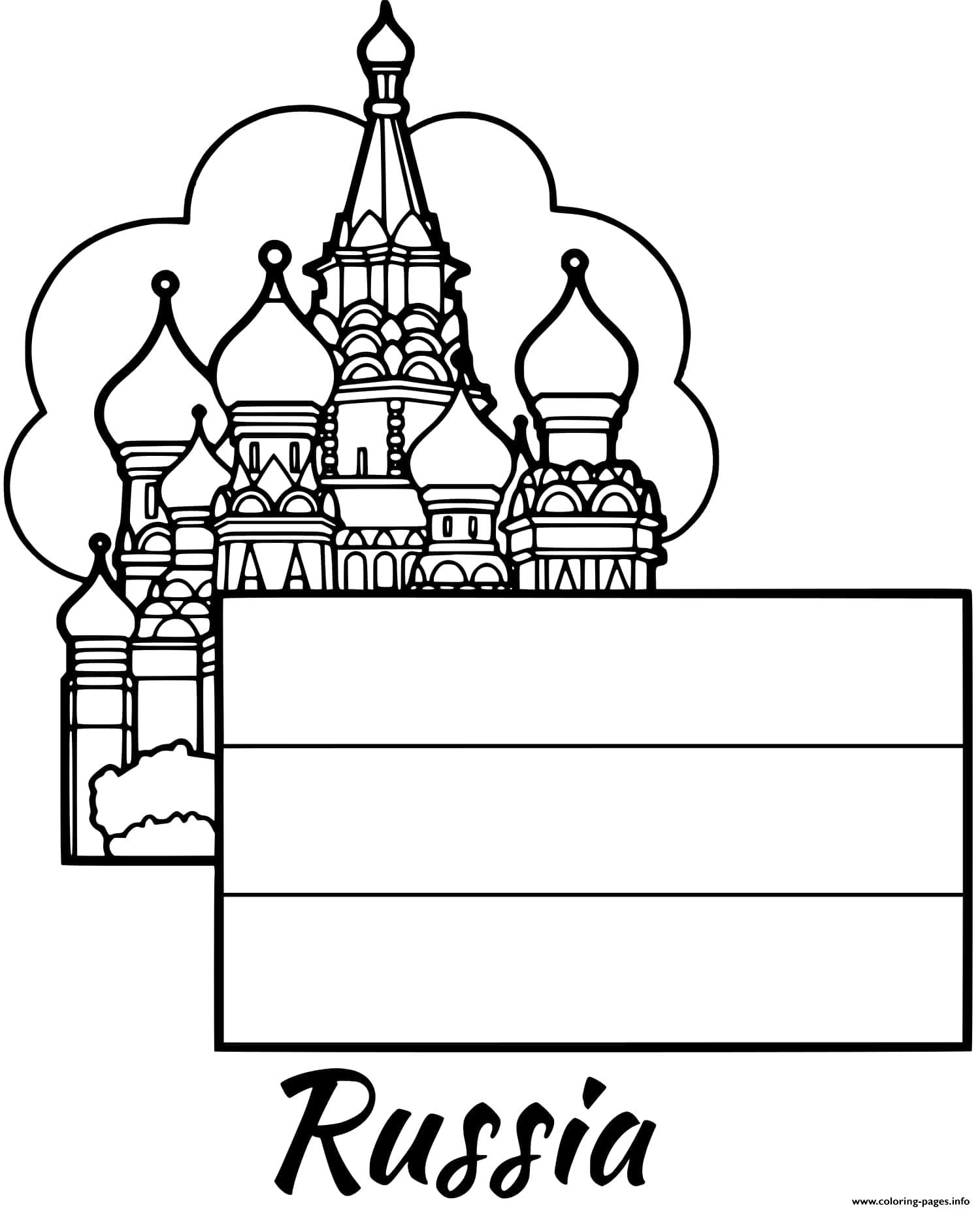 Russia Flag Moscow Coloring Pages Printable
