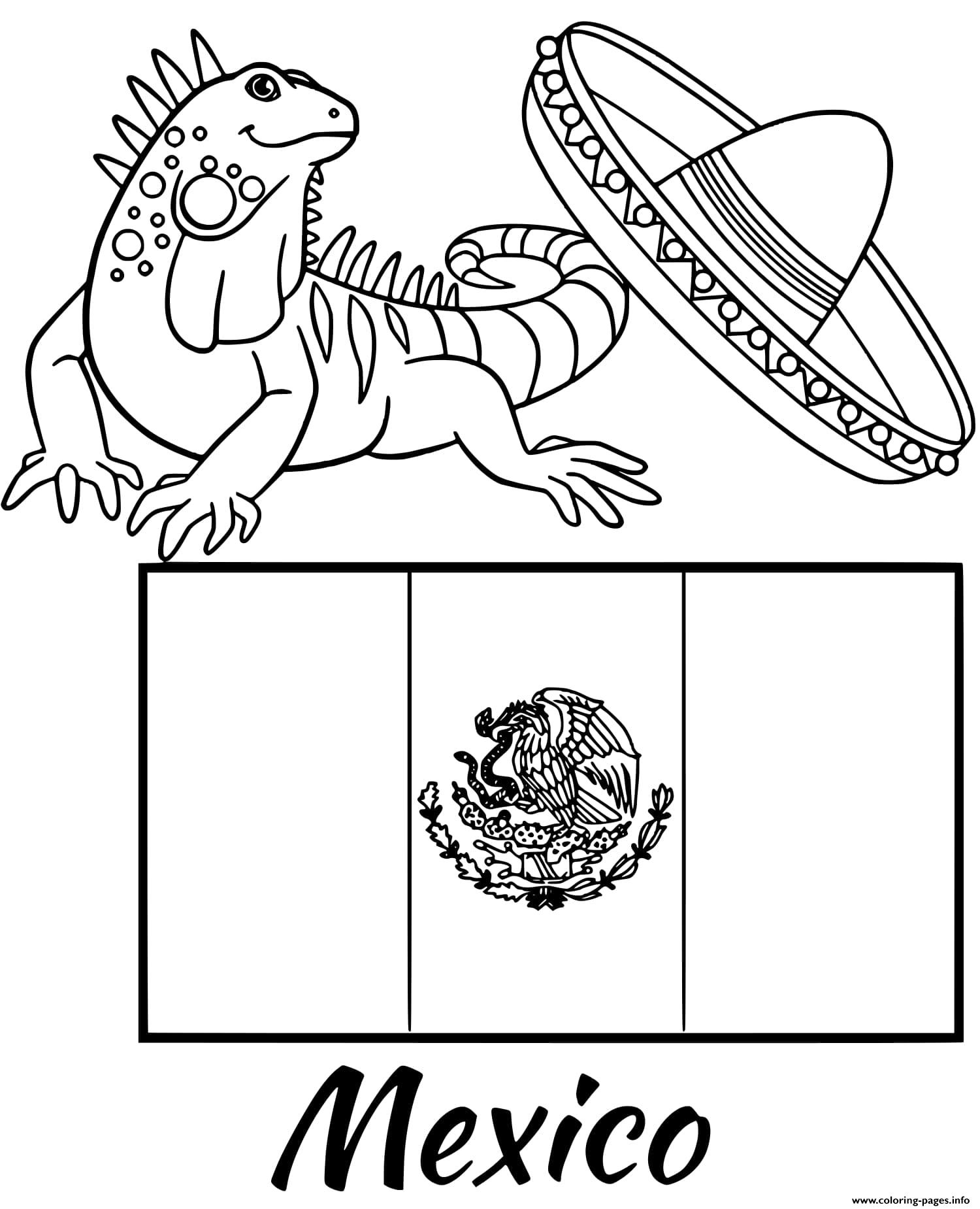 Mexico Flag Iguana Coloring Pages Printable