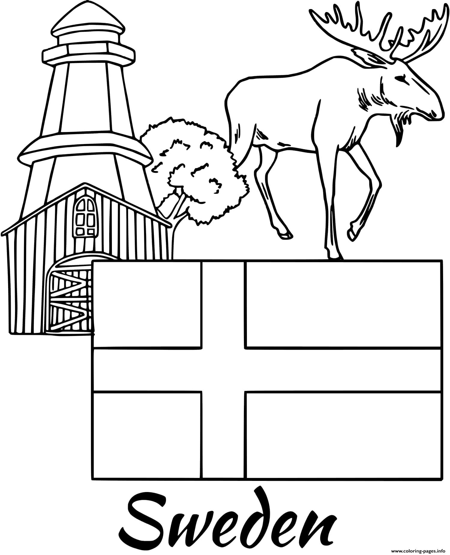 Sweden Flag Moose Coloring Pages Printable