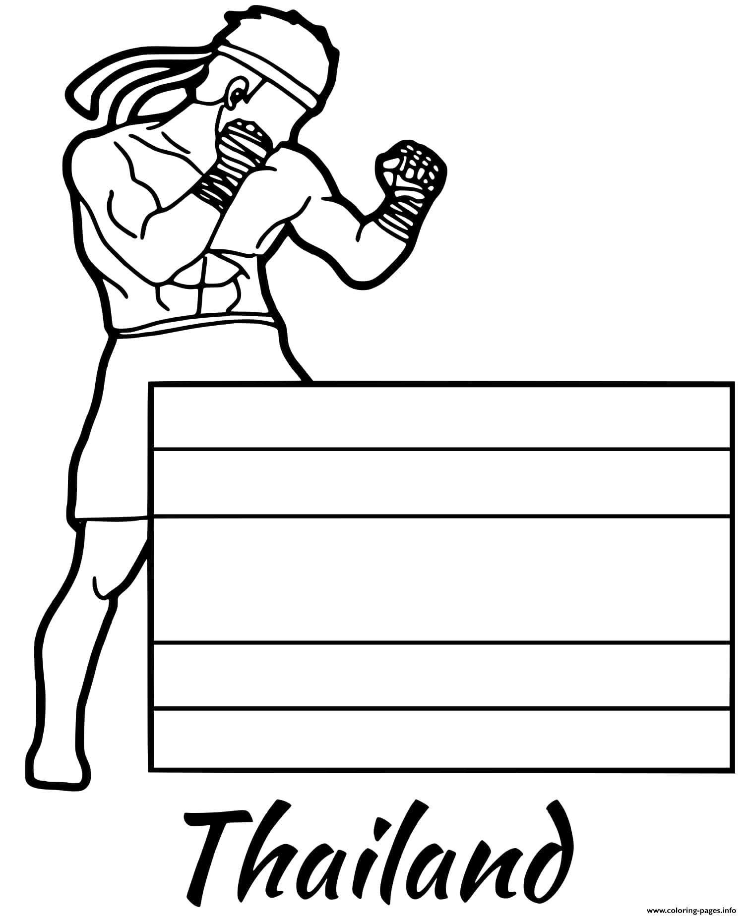 Thailand Flag Muay Thai Coloring Pages Printable