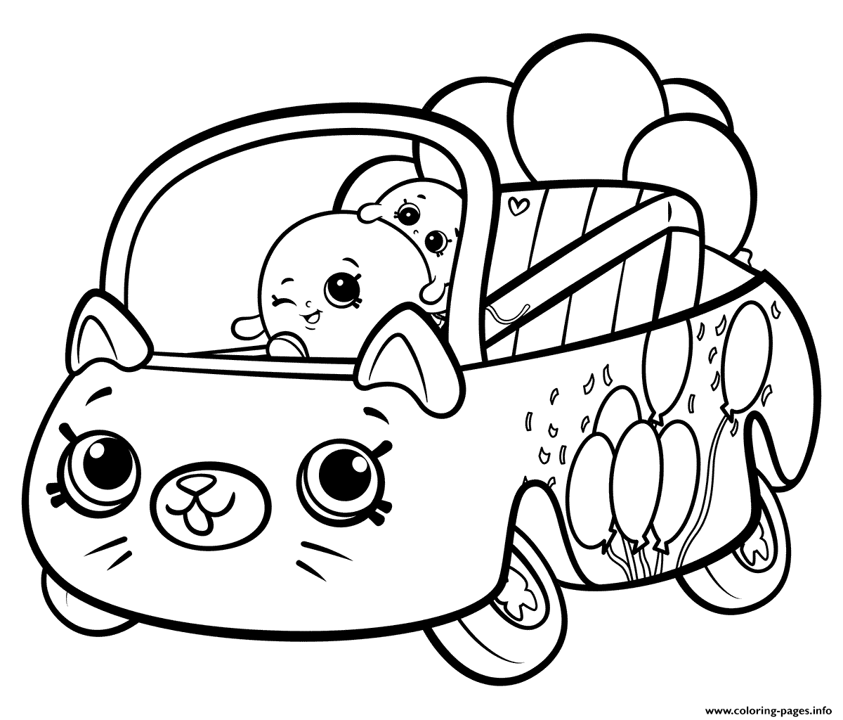 Shopkins Cutie Cars Bumper Balloons Coloring Pages Printable
