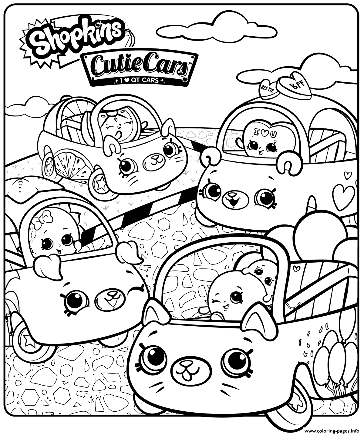 Shopkins Cutie Cars Sheet Coloring Pages Printable