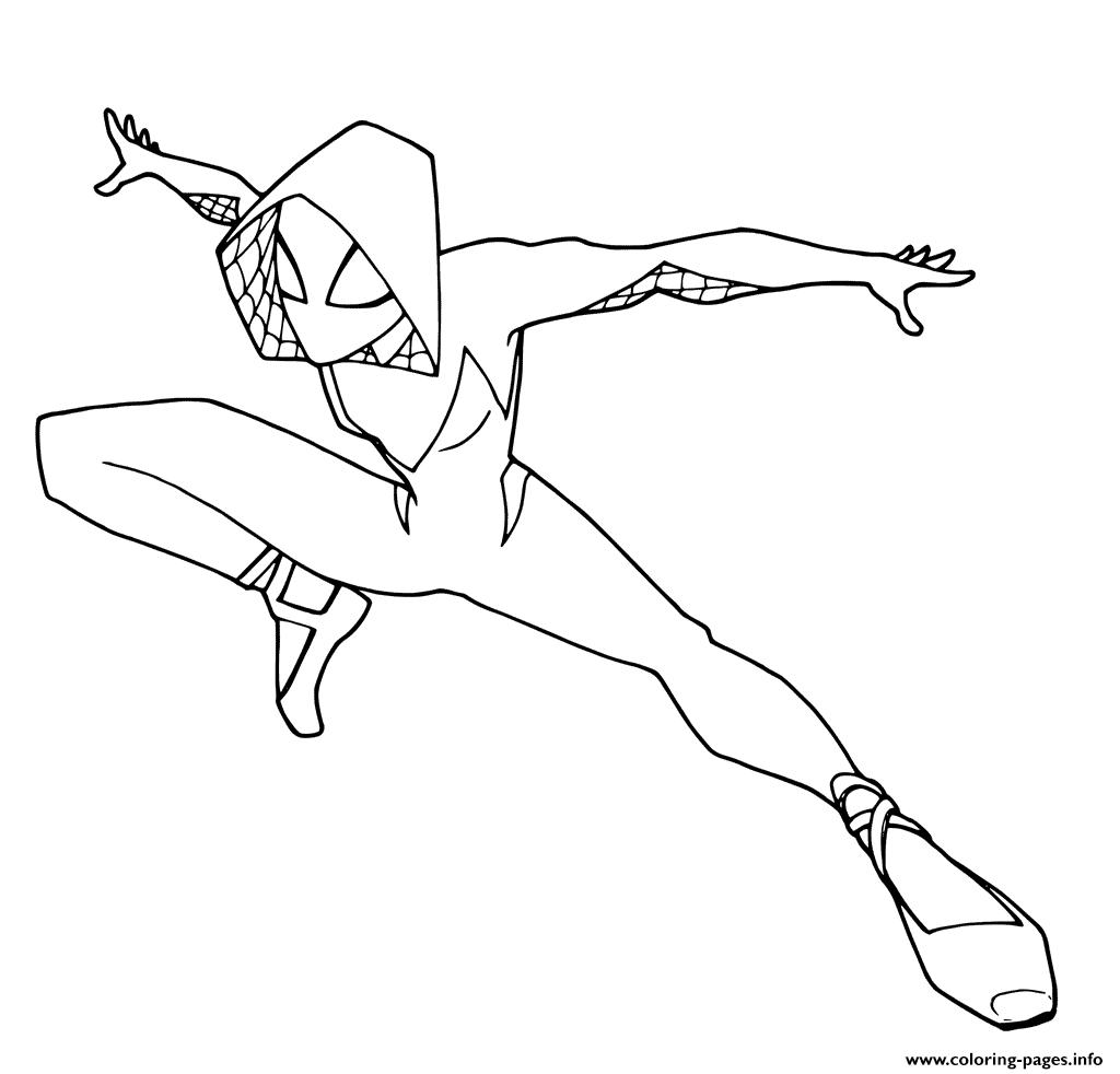 image about Printable Spider known as Spider Gwen Coloring Internet pages Printable