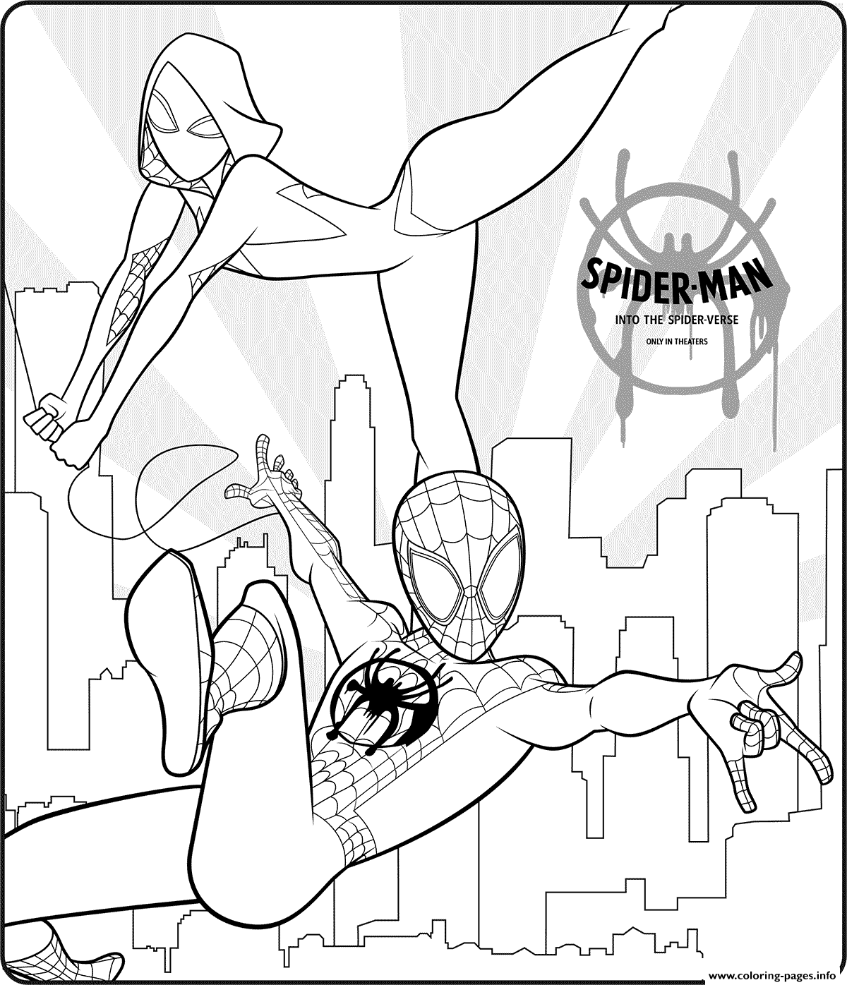 Spider Man Into The Spider Verse Coloring Pages Printable